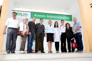 Noemia Rocha, Mauro Ignacio e Chicarelli estiveram na UPA do Campo Comprido para verificar a viabilidade de uma máquina de raios X. (Foto: Chico Camargo/CMC)